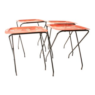 Mid Century Modern Pink Metal TV Tray Tables - Set of 4