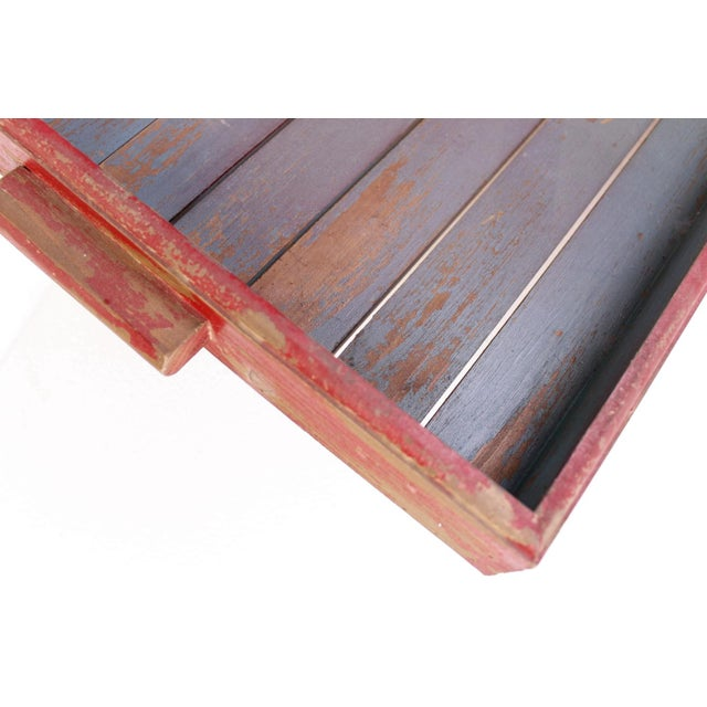 Antique Red & Blue Rustic Wooden Square Tray - Image 4 of 5