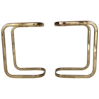 Milo Baughman Style Brass Side Tables - A Pair