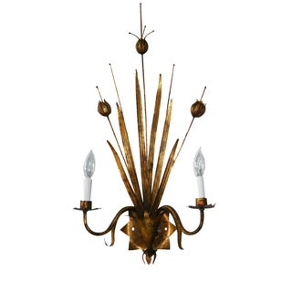 Gilt Metal Cattail Sconce by Ferrocolor