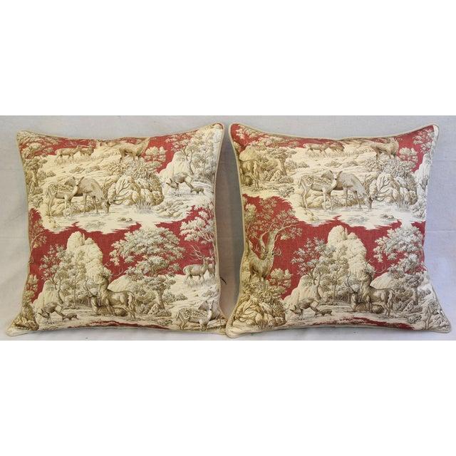 Image of Custom Woodland Toile Deer & Velvet Pillows - a Pair