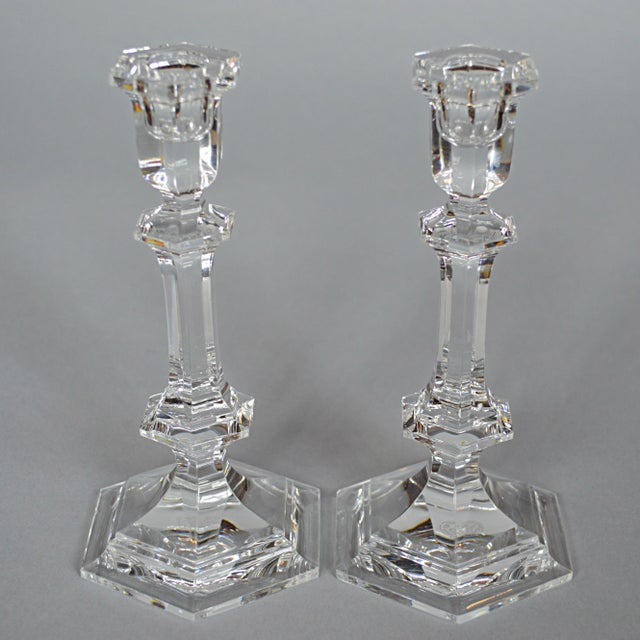 Image of Baccarat Crystal Candlesticks - A Pair