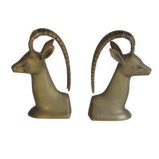 Mid-Century Brass Impala Bookends - A Pair
