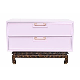 Blush Pink Lacquered Trunk on Tortoise Base