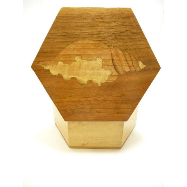 Vintage Hexagon Sea Shell Marquetry Inlay Wood Keepsake Box - Italy - Image 3 of 7