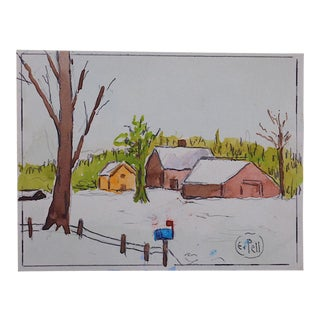 """Cold & Snow At Last"" By E. Pell-Original Watercolor-Signed"