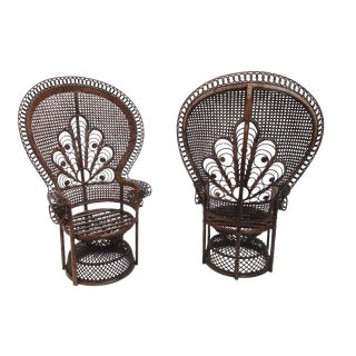 "Pair of Iconic Soft Erotic ""emmanuelle"" 70's Rattan Peacock Chairs"