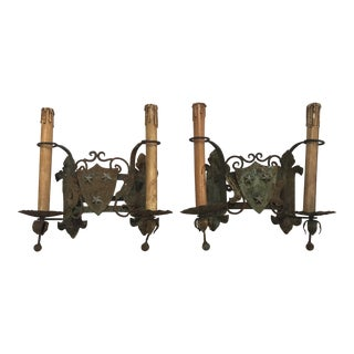French Un-electrified Iron Sconces, Pair