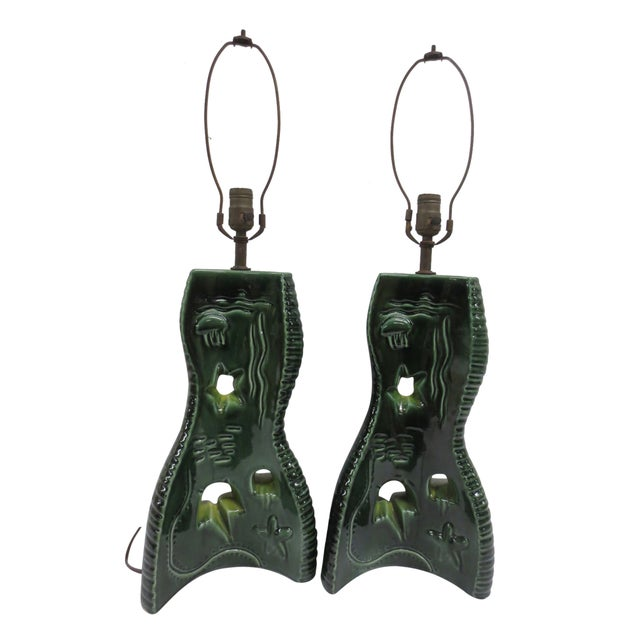 Image of Pair Mid-Century Green Glazed Lamps