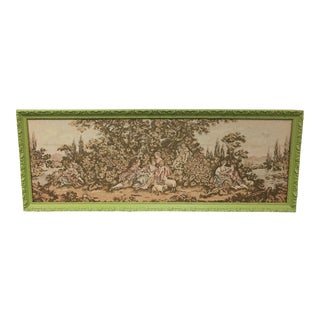 Vintage French Lime Green Framed Tapestry