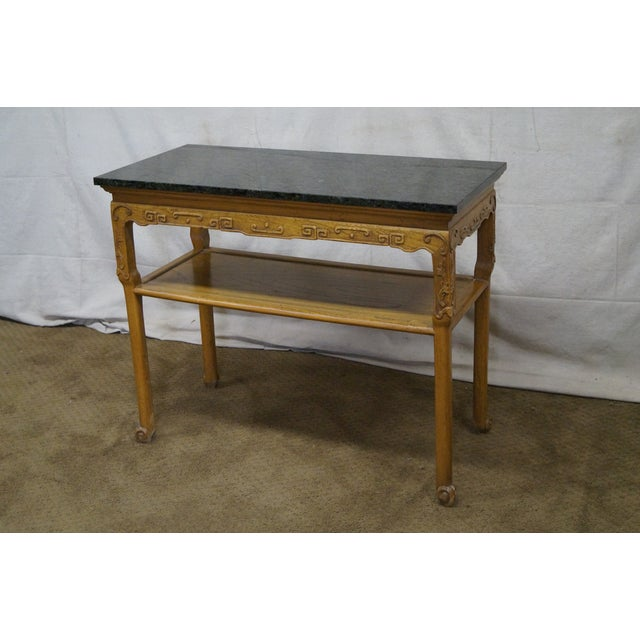 Baker Furniture Carved Teak Chinese Style Granite Top Console Table - Image 8 of 10