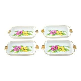 Japanese Floral Gilt Ashtrays - Set of 4