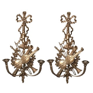 Louis XVI Style Bronze Wall Candle Holders - A Pair