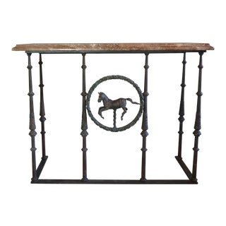 Architectural Antique Cast Iron and Granite Console Table
