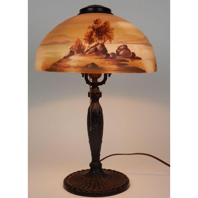 Antique Signed Pittsburgh Electric Reverse Painted Table Lamp - Image 9 of 11