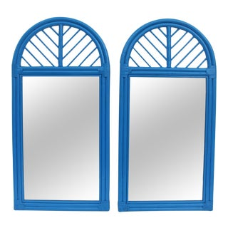 McGuire Rattan Arch Wall Mirrors - Pair