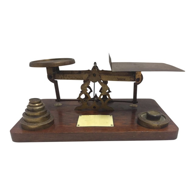 Image of Antique Postage Scale With Weights