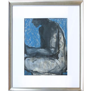 Mid-Century Male Study in Blue Painting