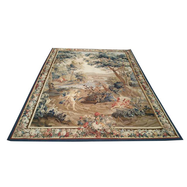 Silk & Wool Hand Woven Aubusson Tapestry - 7′ X 9′8″ - Size Cat. 6x9 7x10 - Image 1 of 3
