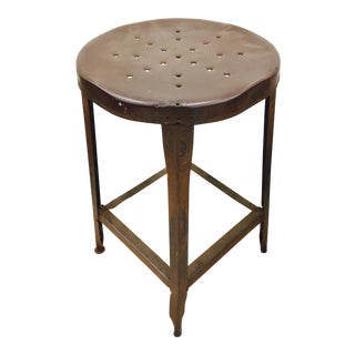 Antique Metal Factory Stool