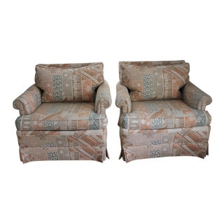 1970s Upholstered Chinoiserie Lounge Chairs - A Pair