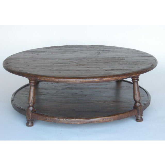 Custom Walnut Wood Round Colonial Coffee Table With Shelf - Image 3 of 10