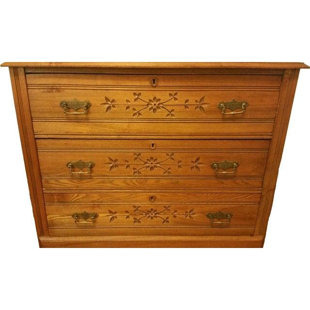 Antique American Chestnut Carved Dresser Amp Mirror Chairish