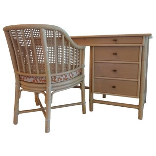 McGuire Furniture Bamboo Desk & Barrel Chair