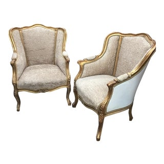 Antique Acanthus Gilded Bergere Chairs - A Pair