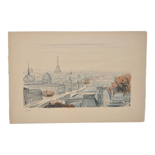 Mid Century Paris Lithograph by Robert Naly c.1950