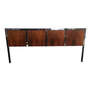 Harvey Probber Rosewood & Chrome King Size Headboard