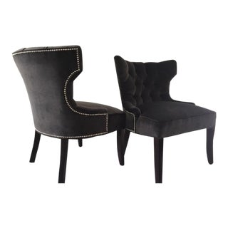 Contemporary Gray Slipper Chairs - A Pair