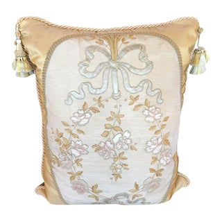 Antique Embroidered Textile Tapestry Pillow by Villa Melrose