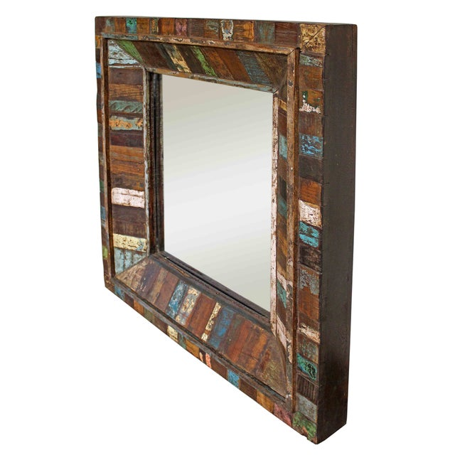 Reclaimed Painted Wood Square Mirror - Image 2 of 3