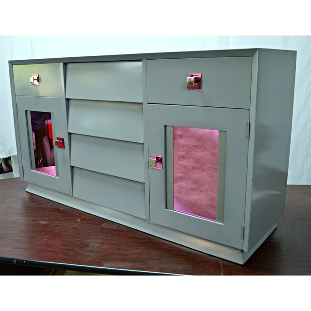 Image of Mid-Century Buffet With Mirrored Doors