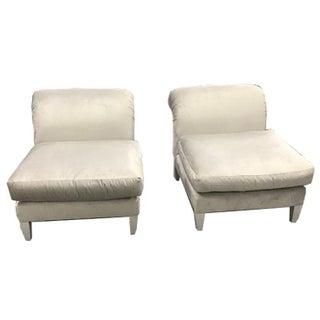 Velvet Upholstered Slipper Chairs- A Pair