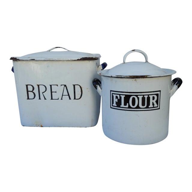 1930's English Enamel Bread Bin - Image 1 of 6