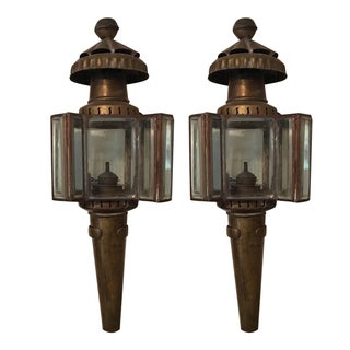 Vintage Carriage Oil Lamps - Pair