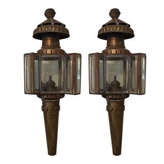 Vintage Carriage Oil Lamps - Pair