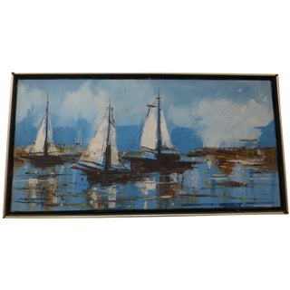 Mid-Century Sailboat Painting by Fred Mitchell