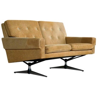 Svend Skipper Attributed Airport-Style Suede Two-Seat Sofa or Settee