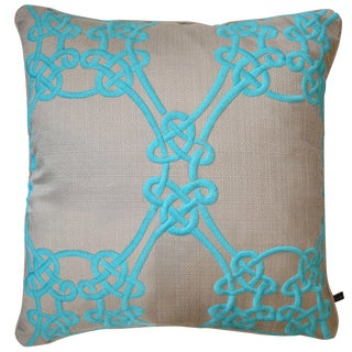 Turquoise Embroidered Down Pillow