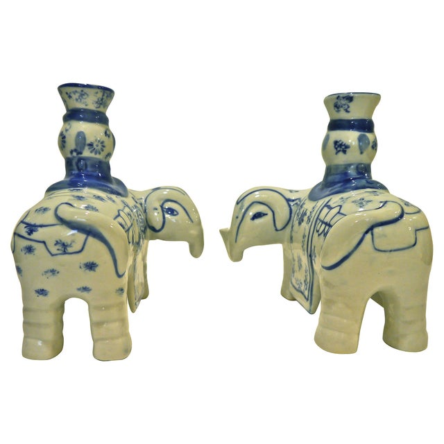 Image of Blue & White Elephant Candleholders - A Pair