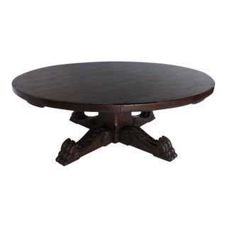 Custom Carved Round Pedestal Winery Coffee Table
