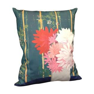 Floral Blue Linen Pillow