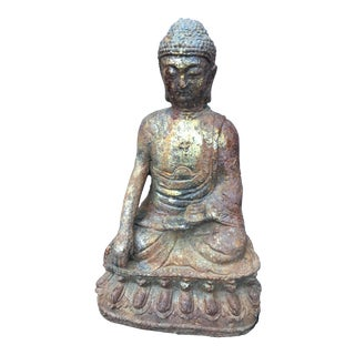 Weathered Cast Iron Gold Leaf Buddha Statue