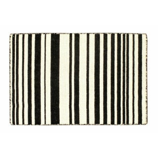 Graphic Black and White Striped Dhurrie