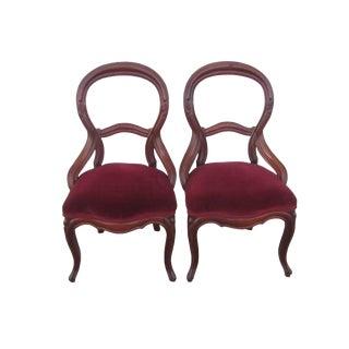 Antique Victorian Balloon Back Chairs - A Pair