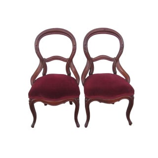 Antique Victorian Balloon Back Chairs - A Pair