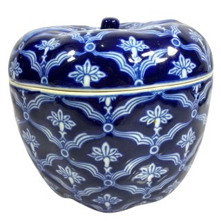 Bombay Blue & White Covered Apple Trinket Catchall